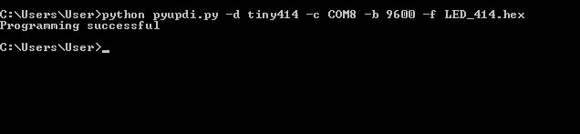 Команда для програмирования микроконтроллера Attiny414 cmd